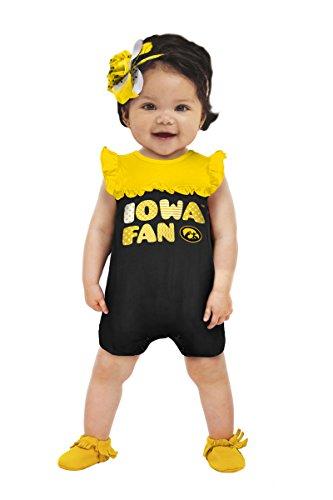 NCAA Iowa Hawkeyes Girls Contrast Jumper, 0-3 Months, Black (Iowa Hawkeye Baby Clothes)