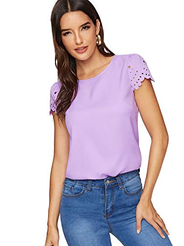 (Floerns Women's Casual Plain Scallop Cap Sleeve Blouse Top Purple M)