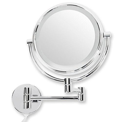 casa pura® Kosmetikspiegel für die Wandmontage | mit LED Beleuchtung | 3 hohe Vergrößerungsgrade wählbar (7-fach)