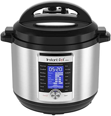 Instant Pot Ultra 80 Ultra 8 Qt 10-in-1 Multi- Use Programmable Pressure Cooker, Slow Cooker, Rice Cooker, Yogurt Maker, Cake Maker, Egg Cooker, Sauté, and extra, Stainless Steel/Black