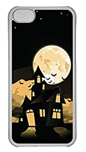 iPhone 5c Case - Unique Cool Black Castle Moon The Tomb Hard Clear Mobile Phone Protecting Shell