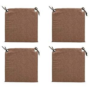 TIENDA EURASIA® Pack 4 Cojines para Sillas – Estampados Lisos con 2 Cintas de Sujeción – Ideal para Interiores y Exteriores – 40 x 40 x 3 cm (Chocolate)