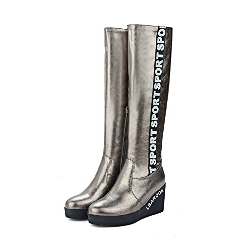 Allhqfashion Women's High-Heels Assorted Color Round Closed Toe Soft Material Zipper Boots Silver iKzbA0