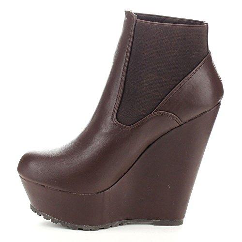 Booties Style Heel Chelsea Wedge Brown Platform Elastic Bamboo Women's Booth 28L Ankle wavnWq8p