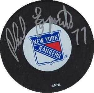 (Phil Esposito autographed hockey puck (New York Rangers Hall of Famer) with display cube AW Certificate of Authenticity )