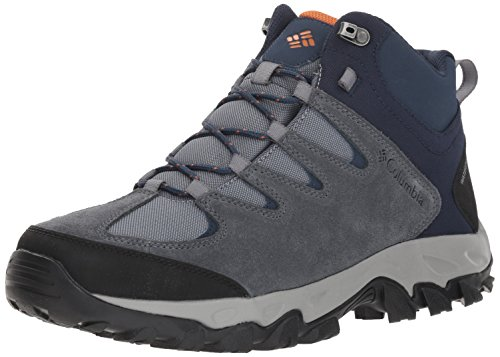 Columbia Men's Buxton Peak MID Waterproof Hiking Boot, Grey ash, Bright Copper, 10.5 Regular US