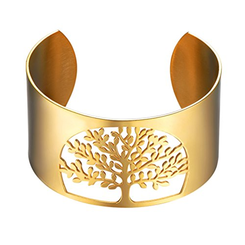PROSTEEL Tree of Life Gold Stainless Steel Bracelet for Women,Fashion Big Bangles,Metal Bracelet,18K Gold Plated,Cuff Bangle