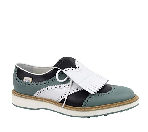 Gucci Brogue Fringed Multi-Color Leather Oxford Golf Shoes 368438 4760 (9 G / 9.5 US)