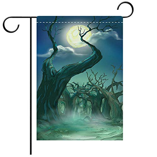 BEICICI Garden Flag Double Sided Decorative Flags Halloween Moonlit Night in The Terrible Forest Decorative Deck, Porch, Patio, Balcony Backyard, Garden or Lawn