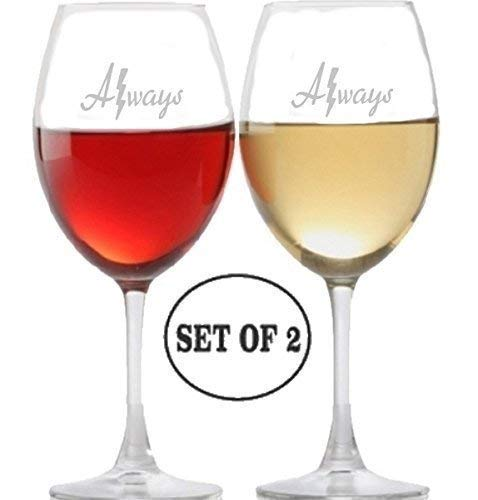 Always harry Potter Inspired Long Stem Wine Glasses for Red, Rose and White Wine Drinkers | Etched Engraved | Perfect Fun Handmade Present for Everyone | Lead Free | Dishwasher Safe | Set of 2