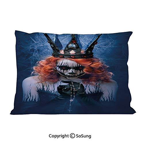 SoSung Queen Bed Pillow Case/Shams Set of 2,Queen of Death Scary Body Art Halloween Evil Face Bizarre Make Up Zombie King Size Without Insert (2 Pack Pillowcase 36