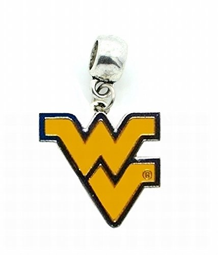 WVU WEST Virginia University Charm Mountaineers Team Charm Slide Pendant for Your Necklace European Charm Bracelet (Fits Most Name Brands) DIY Projects -