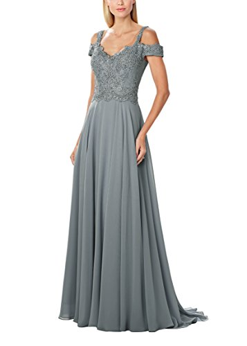 c3dee2db4cc ... Cold Shoulder Backless Chiffon Lace Spring Long Mother Of The Bride  Dress Gray 16.   