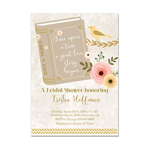 Book Bridal Shower Invitations in Brown Green or Pink, Set of 10 invitations with envelopes
