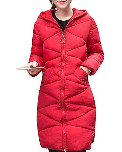 Chaqueta Tamaño Invierno Parka Rojo Gruesa Small Mujeres color Larga Capucha De Oudan Con Las g67ana