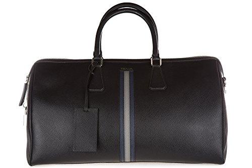 Prada genuine leather travel duffle weekend shoulder bag saffiano black
