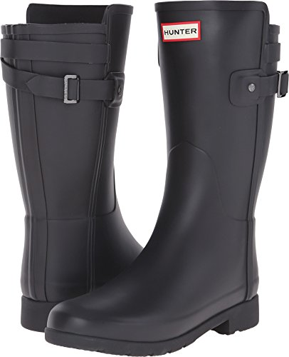 Hunter Original Short Refined Back Strap Rain Boots Black 5