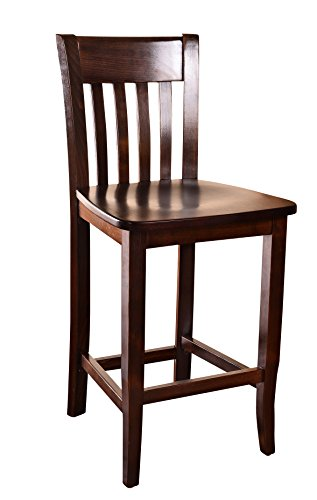 Beechwood Mountain BSD-34B24-W Solid Beech Wood Counter Stool in Walnut for Kitchen and dining