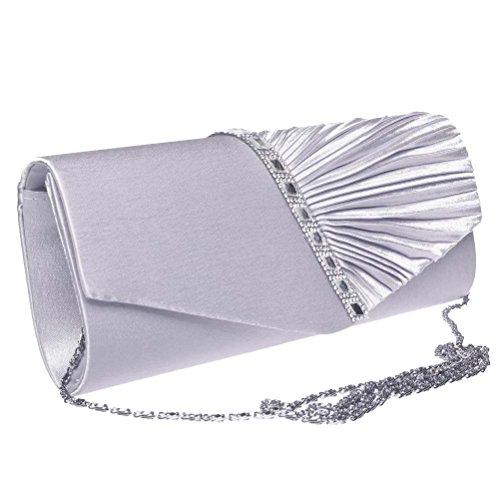 Sicai pochette intrecciata con strass,da sera, da cerimonia, da donna Silver