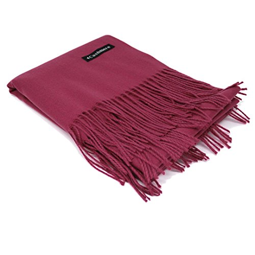 Magenta 100% Cashmere Scarf - Gift Box, Large Size, Removable Tag, Limited Availability