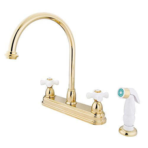 Kingston Brass KB3752PX Restoration Deck Mount Kitchen Faucet with ABS Sprayer, 8-1/2-Inch, Polished Brass - Brass Deck Mount Kitchen Faucet