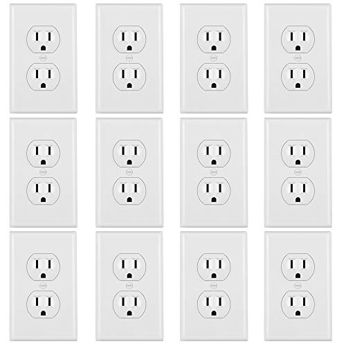 ELECTECK 15A Duplex Outlet with Covers, 12 Pack, Electric Receptacle with Wall Plate, Non-Tamper-Resistant, Residential and Commercial Grade, Self-Grounding, UL Listed, White ()