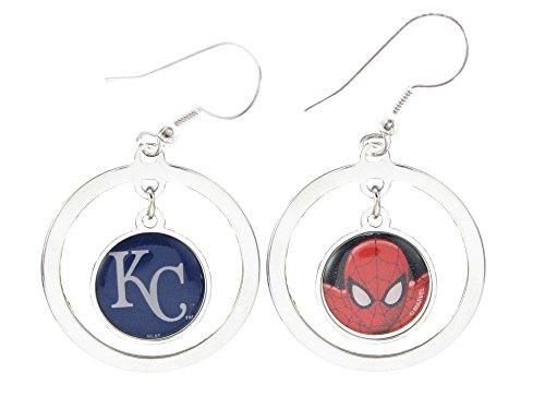 Kansas City Royals Spiderman Two Sided Silver Hook Hoop Earrings Jewelry Marvel
