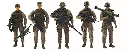 [Super Hero Marine Force Recon Hero Series Action Figures Toys 5 Pack] (Female Action Figure Costumes)