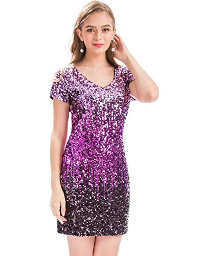 25b7a9a5d MANER Women's Sequin Glitter Short Sleeve Dress Sexy V Neck Mini Party Club  Bodycon Gowns (XS, Periwinkle/Festival Fuchsia/Dark Purple)
