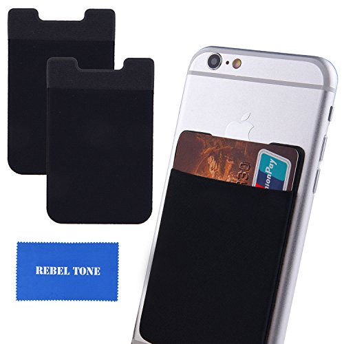 Card Holder for Credit Cards, ID, Driving Licence, Business Cards, etc. - Strong Sticker to Attach - Wallet Replacement - Money Clip or Holder for Cable/Earphones - with Rebel Tone Cleaning Cloth ()