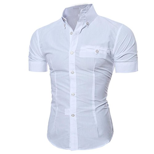 Hot Sale! OOEOO Men's Lapel Shirt Casual Button Down Pullover Short Sleeve Top Blouse (White, L)