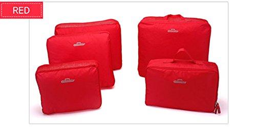 Abbigliamento Corsa Trucco Cosmetico Cerniera Rosa Borsa Multifunzionali Di Ordinato Rosso Della Stoccaggio Caso Borse 5set 8XwqvP