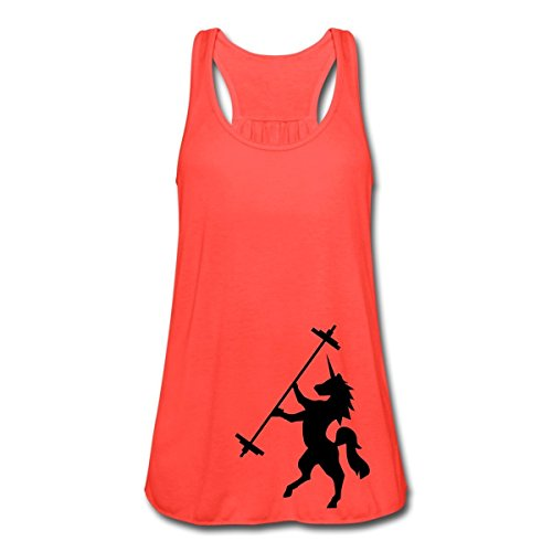Unicorn Barbell -… Women's Flowy Tank Top by Bella by Spreadshirt, M, coral