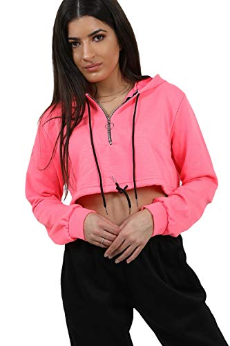 shelikes Womens Zip Crop Hoodie Ladies Stayhome Sweatshirt Cropped Top Pullover Sweater Size