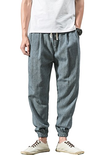 sandbank Men's Drawstring Beach Pant Summer Cotton Linen Loose Yoga Jogger Pants
