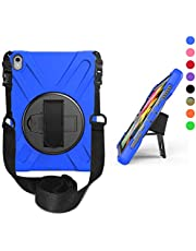 OKZone Funda Compatible con iPad Pro 11 Pulgadas,Carcasa Rugosa con Soporte Rotativo Asa de Mano Correa de Hombro, Funda Robusta Antichoque para New Apple iPad Pro (Azul)