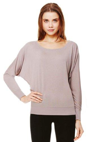 T-shirts Blank Long Sleeve (Bella Ladies Elizabeth Long-Sleeve dolman sleeves Top, pebble brown, Large)