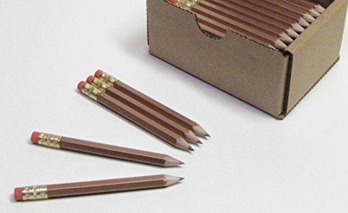 Half Pencils with Eraser - Golf, Classroom, Pew, Pocket -#2 Hexagon, Sharpened, (Box of 48). Color Choice: Gold