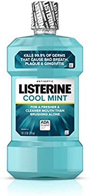 Listerine Cool Mint Antiseptic Mouthwash to Kill 99% of Germs that Cause Bad Breath, Plaque and Gingivitis, Co