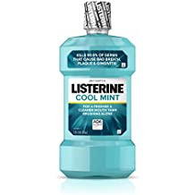 Listerine Cool Mint Antiseptic Mouthwash to Kill 99% of Germs that Cause Bad Breath, Plaque and Gingivitis, Cool Mint Flavor, 1 L