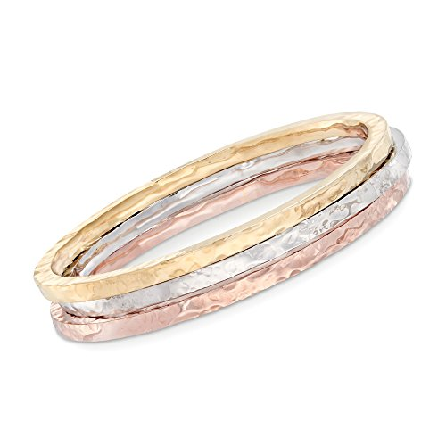 Ross-Simons Italian Tri-Colored Sterling Jewelry Set: Three Square-Edge Hammered Bangle Bracelets