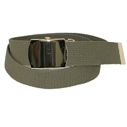 Green Kids Belt (CTM Kids' Cotton Adjustable Belt with Brass Military Buckle, Olive)