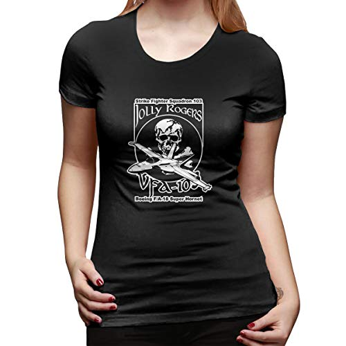 Yishour VFA-103 Jolly Rogers Women's V Neck Summer Casual Short Sleeve T Shirts Black