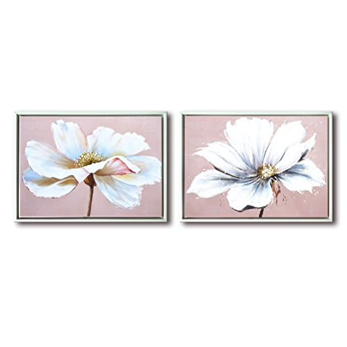 Flower Wall Art Decor Modern Framed Floral Canvas Painting Picture with Hand Painted Texture for Living Room Bedroom Bathroom Girl Room White and Pink 12x16 x 2 Piece/Set by Aitesi Art
