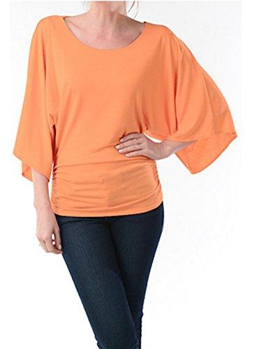 Women's Rayon Span Dolman, Kimono Style Blouse -Made in USA (L, Orange)