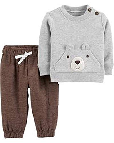 Moose Carters - Carters Infant Boys 2-Piece Fleece Moose Pullover Hoodie & Pants Set (Brown and Gray, 6 Months)