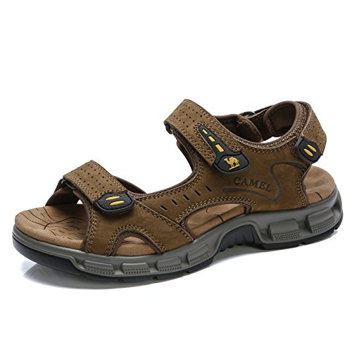 Camel Mens Summer Leather Toe Sandals Casual Strap Fisherman Sandals for Outdoor Beach Walking Hiking