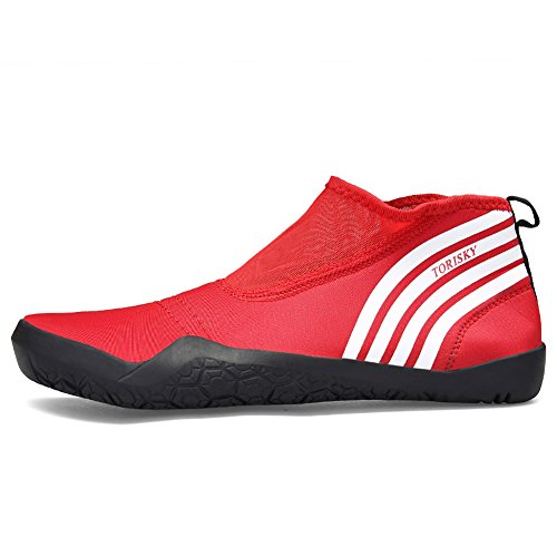 TORISKY Men Women Water Beach Shoes Quick Dry Sports Aqua Shoes Gym Yoga Snorkeling Swimming Black Blue Red Pink 35-47 Red