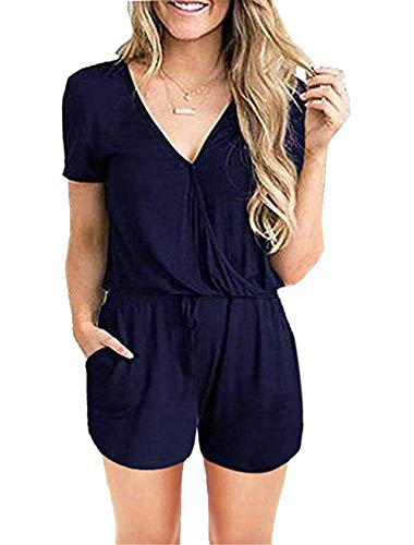 PRETTYGARDEN Women's Summer Casual Short Sleeve Loose Short Rompers Overalls with Pockets Navy -