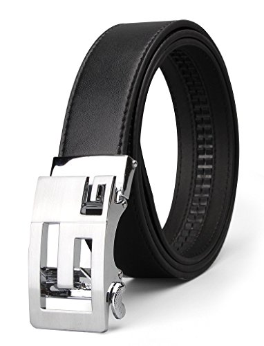 XIANGUO Men's Genuine Leather Ratchet Dress Belt with Automatic Sliding Buckle (35 Mm Bridle)